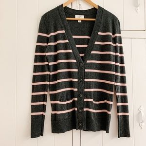 Gray and Pink Striped Cardigan